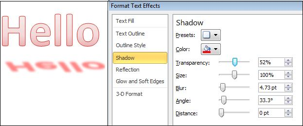Format shadow effect.jpg image from More Text Effects in Word 2010 at Office-Watch.com