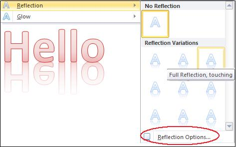 1475 Reflection - More Text Effects in Word 2010