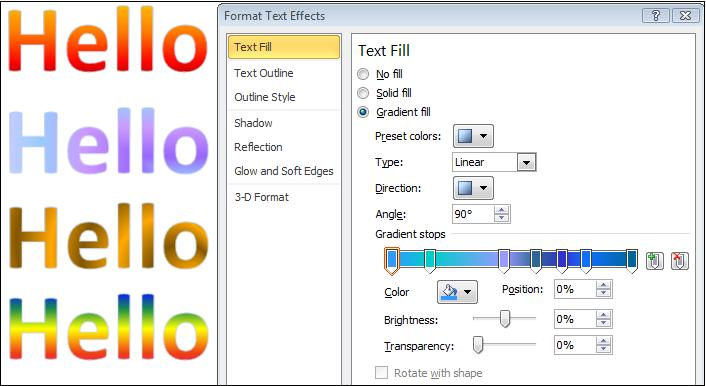 Text fill options.jpg image from More Text Effects in Word 2010 at Office-Watch.com