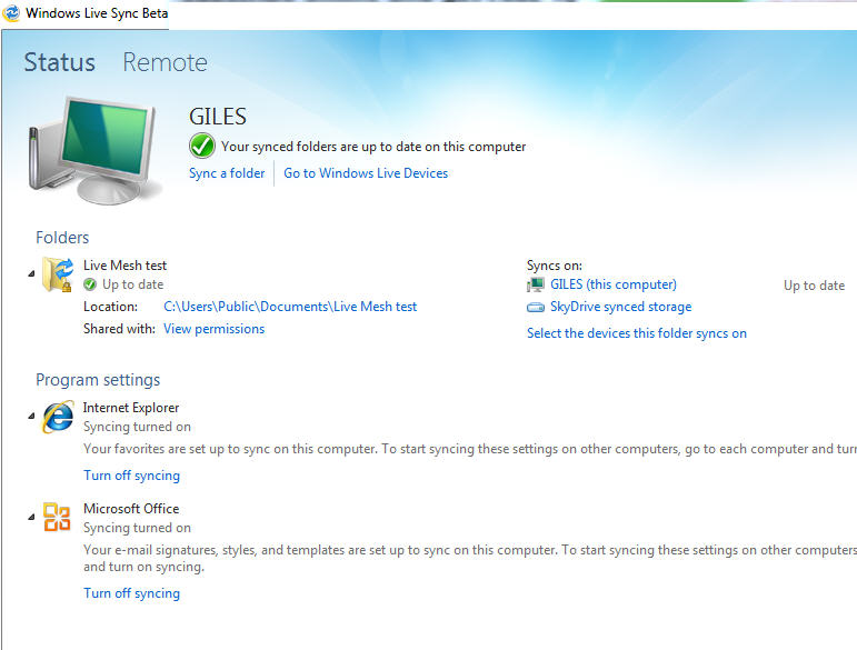 Windows Live Sync - Status window.jpg image from Live Sync for Office users at Office-Watch.com