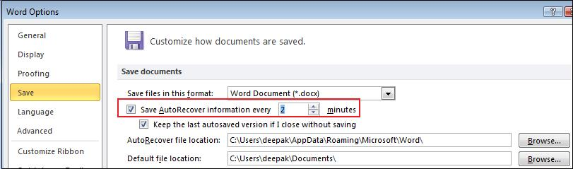 Auto-recover time.jpg image from Versions in Word 2010 at Office-Watch.com