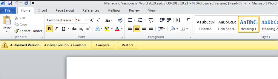Open autosave version.jpg image from Versions in Word 2010 at Office-Watch.com