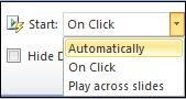 Audio Start options.jpg image from Manage Audio Clips in PowerPoint 2010 at Office-Watch.com