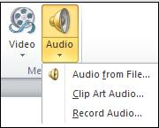 Audio menu.jpg image from Manage Audio Clips in PowerPoint 2010 at Office-Watch.com