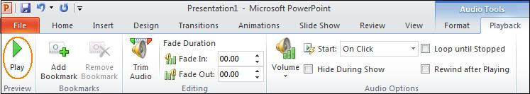 Audio tools.jpg image from Manage Audio Clips in PowerPoint 2010 at Office-Watch.com