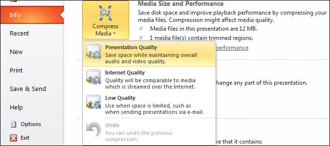Compress media.jpg image from Manage Audio Clips in PowerPoint 2010 at Office-Watch.com