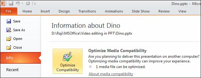 Optimize compatibility.jpg image from Manage Audio Clips in PowerPoint 2010 at Office-Watch.com