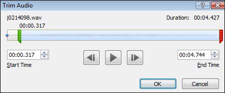 Trim audio.jpg image from Manage Audio Clips in PowerPoint 2010 at Office-Watch.com