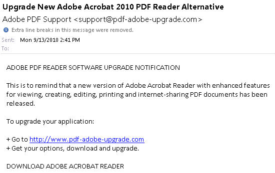 Scam email promising PDF Adobe updates.jpg image from Two scam emails to avoid and why at Office-Watch.com