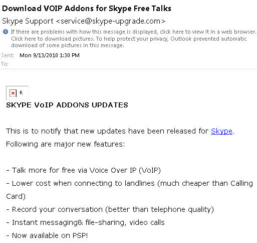 Scam email promising Skype updates.jpg image from Two scam emails to avoid and why at Office-Watch.com