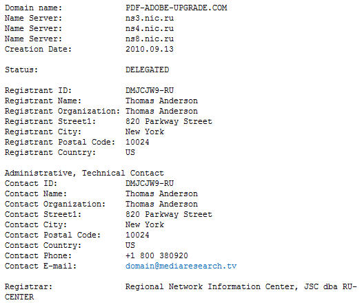 WhoIs information for pdf-adobe-upgrade.com.jpg image from Two scam emails to avoid and why at Office-Watch.com