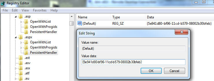 Regedit - changing asp.net to a plain text filter.jpg image from Fully indexing web code pages at Office-Watch.com