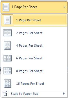Office 2010 - Print Pages per sheet.jpg image from Print pane in Office 2010 at Office-Watch.com