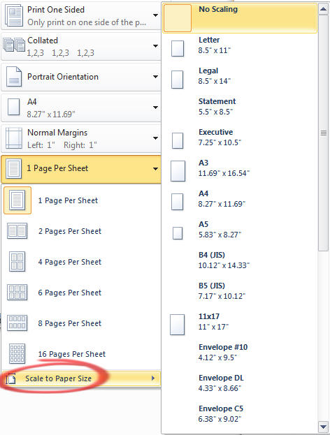 Office 2010 - Print Scale to Paper Size.jpg image from Print pane in Office 2010 at Office-Watch.com
