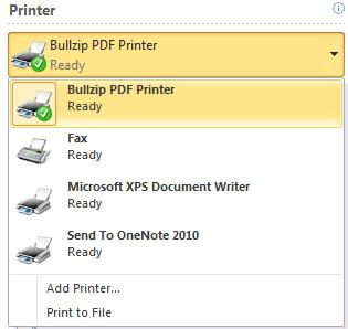 Printer pane.jpg image from Print pane in Office 2010 at Office-Watch.com