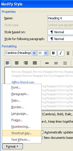 Word - Modify Style dialog.jpg image from Shortcuts for Word heading styles at Office-Watch.com