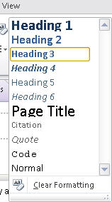 1510 OneNote 2010   Styles list on Home tab - OneNote 2010 Heading styles