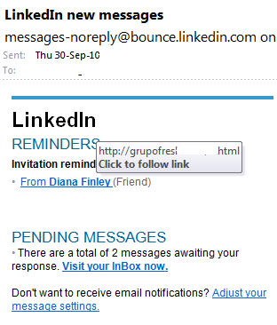 Fake LinkedIn message.jpg image from LinkedIn fake messages at Office-Watch.com