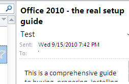 Outlook - message header above reading pane.jpg image from Outlook hide message header bug at Office-Watch.com
