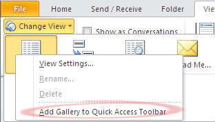 Outlook 2010 - Change Views - Add to QAT.jpg image from Outlook 2010 view unread messages. at Office-Watch.com