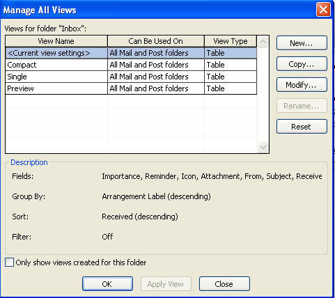 Outlook 2010 - Manage Views dialog.jpg image from Outlook 2010 view unread messages. at Office-Watch.com