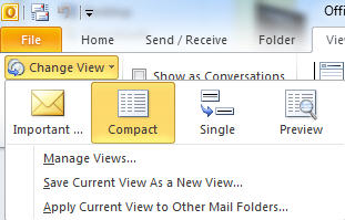 Outlook 2010 - default views for email.jpg image from Outlook 2010 view unread messages. at Office-Watch.com