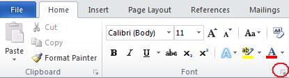 Font ribbon.jpg image from Change Default Font Settings in Word at Office-Watch.com