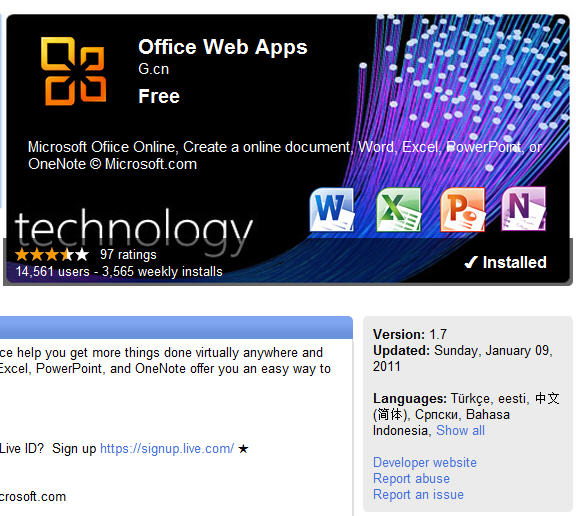 OWA app on Chrome web store.jpg image from Office Web Apps, questions about the Chrome App at Office-Watch.com