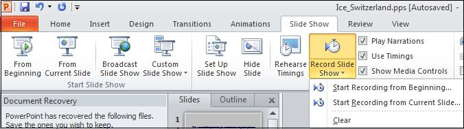 Record options.jpg image from Record Narration and Timings to PowerPoint at Office-Watch.com