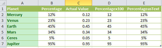 Excel - Percentages in different formats.jpg image from Percentages in Word Mail Merge at Office-Watch.com