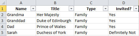 Excel data in standard list format image from Excel data form at Office-Watch.com