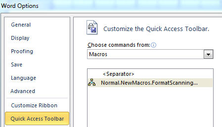 1564 Office Macro command list - Adding to the Customize Command List