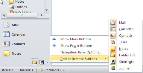 1566 Outlook Navigation Pane Add Remove buttons - Navigation Buttons: Outlook settings NOT to use