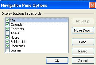 1566 Outlook Navigation Pane configuration dialog - Navigation Buttons: Outlook settings NOT to use