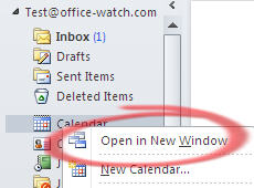 Outlook - Open in New Window from folder view.jpg image from Outlook – see more with New Window at Office-Watch.com
