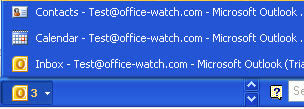 Outlook - multiple windows open on taskbar.jpg image from Outlook – see more with New Window at Office-Watch.com