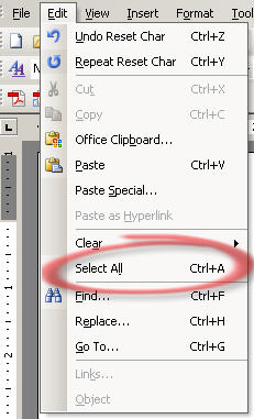 Office 2003 - Edit - Select All.jpg image from Finding Select All at Office-Watch.com