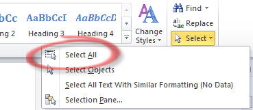 Word 2010 - Select menu.jpg image from Finding Select All at Office-Watch.com