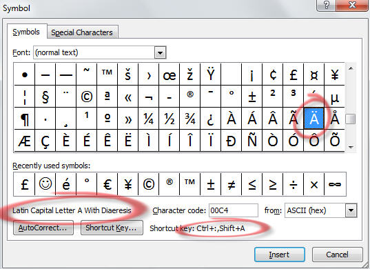 Office - Insert Symbol for accented character.jpg image from Accent characters in Office at Office-Watch.com