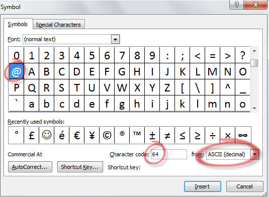 Insert Symbol - show Alt code number.jpg image from Using Alt to get accent and other characters at Office-Watch.com