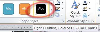 1607 Word   Text Box   apply Light 1 Outline style - Chalkboard effect in Word