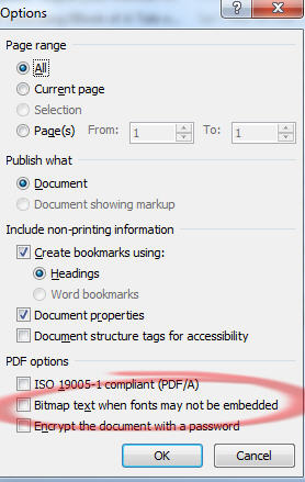 Office - Save to PDF option - Bitmap text for non embed fonts.jpg image from Font embedding problems in Office at Office-Watch.com