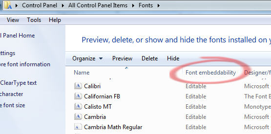 1611 Windows 7 font embeddability in CP Fonts details view - Font embedding problems in Office