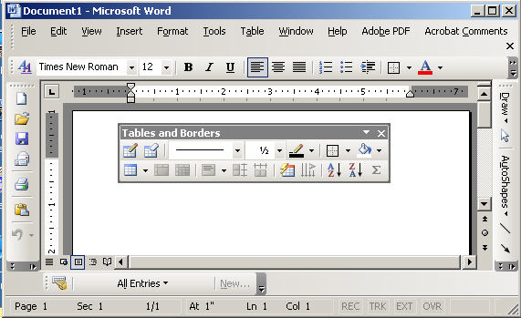 Word 2003 with toolbars all over the place.jpg image from Vertical Ribbon in Office 2007 or Office 2010 at Office-Watch.com