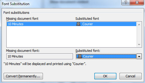 Word - Font Subsitution dialog.jpg image from Font Embedding in Microsoft Office at Office-Watch.com