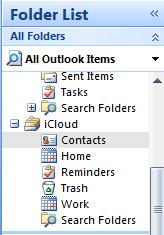 iCloud folder list in Outlook.jpg image from iCloud and Microsoft Outlook at Office-Watch.com