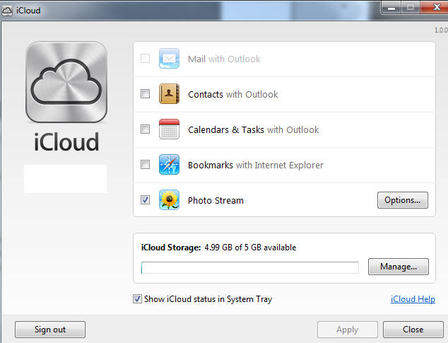 iCloud control panel for Windows.jpg image from Problems with iCloud and Outlook at Office-Watch.com
