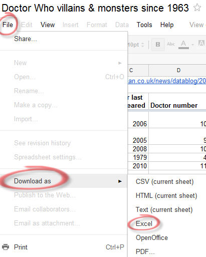 1621 Google Docs   download Excel version - Getting data from Internet into Excel