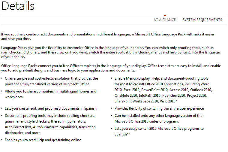 Office 2010 - same product description for each language pack.jpg image from Office 2010 language packs at Office-Watch.com