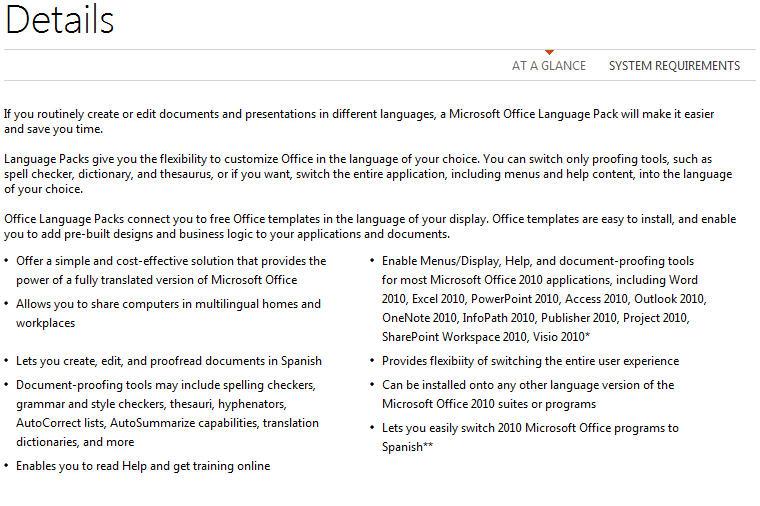 1638 Office 2010   same product description for each language pack - Office 2010 language packs